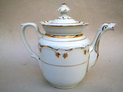 Porcelaine De Limoges Theiere Cafetiere Decor Or  Peint Main  Epoque1890-1900