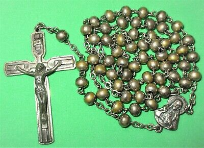 Vintage Silver Tone Metal Beads Rosary Made In Italy Roma Jesus Sacred Heart Old