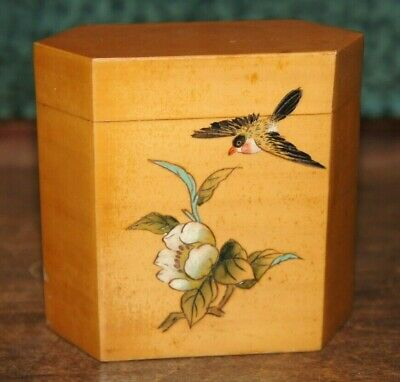 Vintage Japanese lacquered wooden Hexagonal Box Bird/Flower inlay Design HNB
