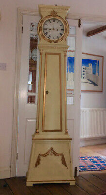 CHEERFUL DANISH BORNHOLM LONG CASE GRANDFATHER CLOCK by Jǿrgen Riis. c 1830