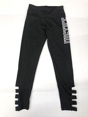 New! Justice Girls Full Length Legging Pants Size 8 Black Horizontal Strap