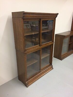 Antique Oak Danner Sectional 2 High Sliding Door Bookcase Clean Original Finish