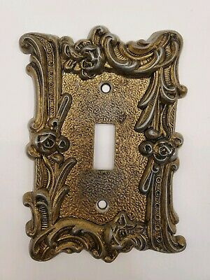 Antique Vintage Brass Ornate Floral Detailed Single Light Switch Cover Decor