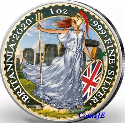 2020 UK 2 Pounds Britannia Stonehenge Coloured 1oz .999 Silver Coin