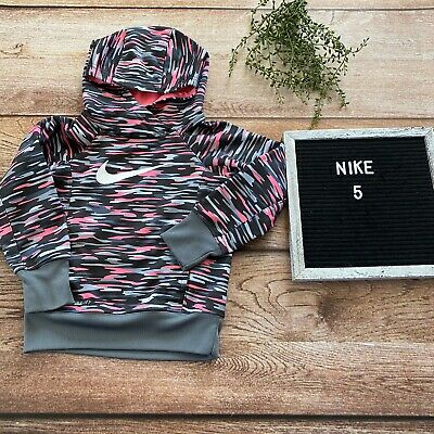 Nike Girls Pink And Gray Cammo Hoodie