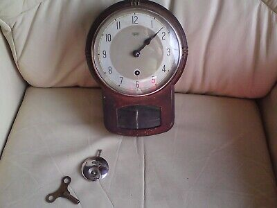 Vintage Smiths Enfield Metal Wall Clock ,UNTESTED WITH KEY,SOLD AS SEEN.