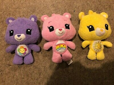 "3x Care Bears Care A Lot Friends HARMONY CHEER FUNSHINE 7"" Soft Plush Toy 2012"