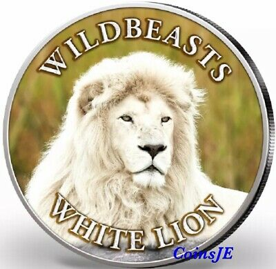 2020 1 oz .999 South African Krugerrand Wildbeasts WHITE LION Color Silver Coin