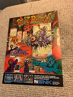 """11-8 1/4"""" Beast Busters Snk Video ARCADE GAME FLYER"""