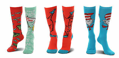 elope Dr. Seuss Cat in the Hat Paws,Fox in Socks,Green Eggs and Ham Socks Bundle