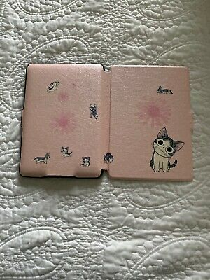 Genuine Amazon Kindle Paperwhite Leather Cover Case Cover Pink with Kitties