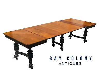 19Th C Antique Victorian Carved Oak Dining Room / Banquet Table ~ 9.5 + Feet