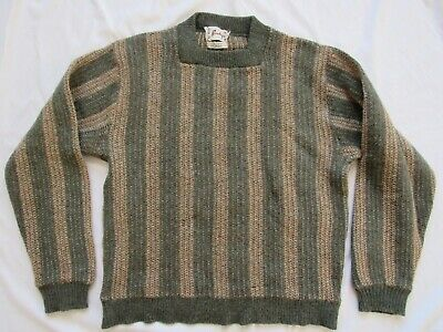 Vtg 60s Barclay Mohair Wool Striped Sweater Mod Hollywood Kurt Cobain 50s Knit