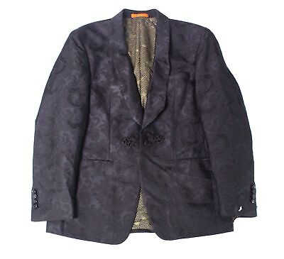 Tallia Mens Blazer Deep Black Size 42 Three Pocket Tonal Paisley $295 095