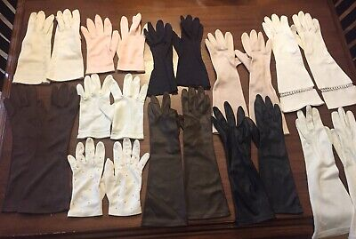 Lot of 11 Pairs of Vintage Women's Gloves - Sizes 6 1/2 to 7 - Assorted Lengths