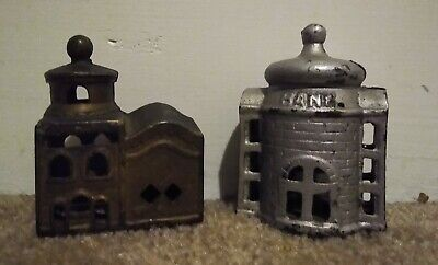 Set of Two Antique Cast Iron Still Bank Mosques A.C. Williams