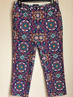 Lands' End Womens Pants Size 2 Blue Pink White Floral Straight Leg Casual