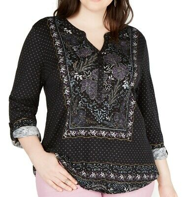 Style & Co. Womens Top Black 3X Plus Peasant Split-Neck Floral Henley $49 260