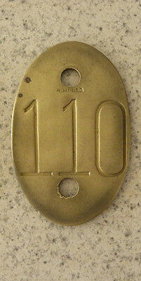 Old Brass Extra Large Morford COW TAG #110, Beef Cattle, Dairy Milk Farm Number