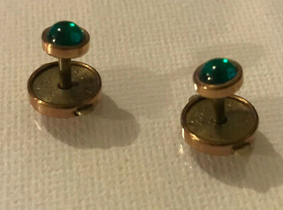 Antique ACME Gold w/ Green Bachelor Pin Push Button Collar Stud Victorian 1890s