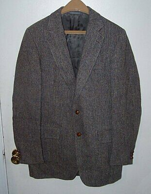 Stanley Blacker Harris Tweed Men's 42R Suit Sport Jacket Blazer Gray Houndstooth
