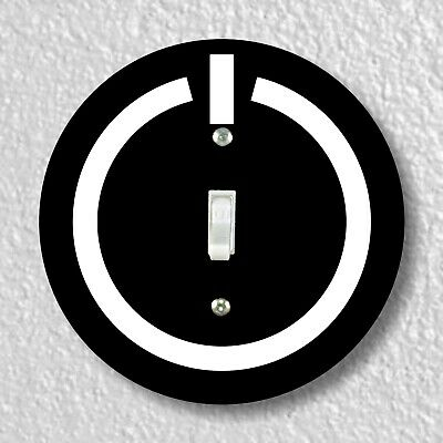 Power Button Round Light Switch and Outlet Plate Covers