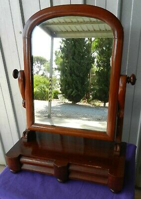 Wooden Shaving Mirror Vanity with 2 Drawer Stand Antique 1880