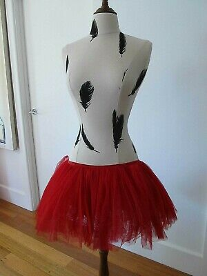 Red Soft Net Tutu Skirt Adult SM 7 layers Stretch Pants/Skirt  P/U W Footscray