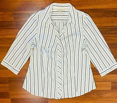 Autograph Womens White/Black/Silver Striped 3/4 Sleeve Shirt Size 16