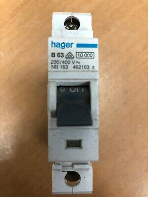 Hager NB163 MCB Single Pole Type B 63 Amp Circuit Breaker B63 63A