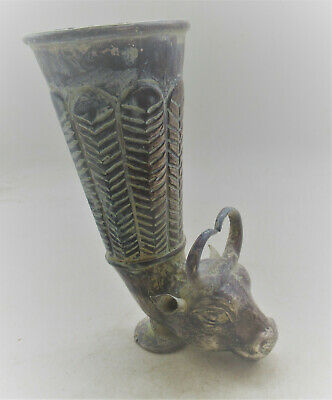 Scarce Ancient Persian Hand Beaten Silver Rhyton Vessel With Rams Circa 400Bc