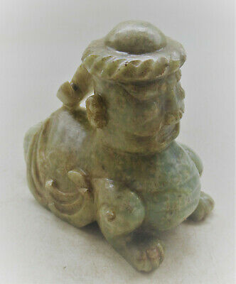 Ancient Chinese Jade Stone Human Beast Statuette Very Interesting