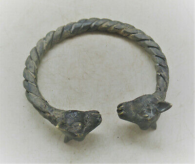 Circa 1000Bce Ancient Luristan Bronze Twisted Bracelet With Two Animal Heads