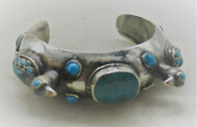 Superb Ancient Islamic Silver Bracelet With Birds And Stones 700-800Ad