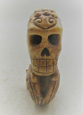 Ancient Near Eastern Jade Stone Carving Skull Form Very Interesting