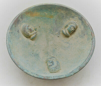Ancient Near Eastern Bronze Bowl With 3 Faces, Very Interesting