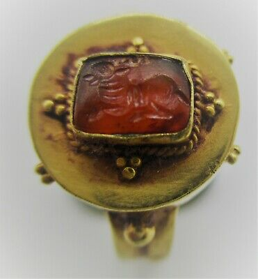 Beautiful Ancient Roman High Carat Gold Ring With Carnelian Stone Seal
