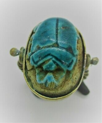 Ancient Egyptian Faience Scarab Set In A Gilt Swivel Ring