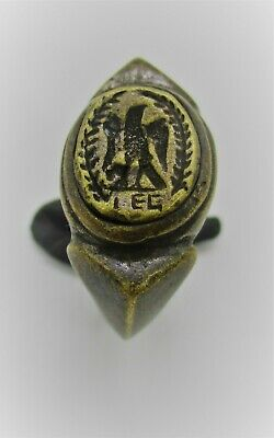 Scarce Ancient Roman Leg Bronze Legionary Ring Depicting Eagle And Wreath