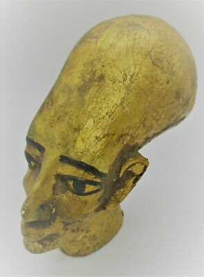 Ancient Egyptian Gold Gilded Stone Statue Fragment Head Of Ahkenaton