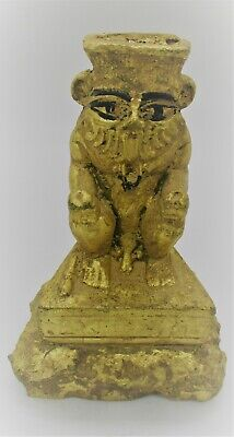 Beautiful Ancient Egyptian Gold Gilded Stone Statuette Of Bes Superb