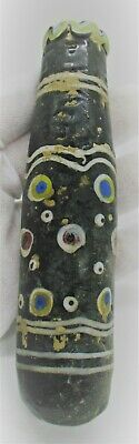Ancient Phoenician Sandcore Formed Mosaic Glass Bottle