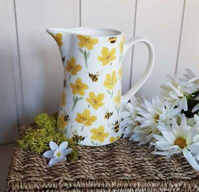 Buttercup and Bee medium ceramic floral Spring farmhouse jug by Gisela Graham