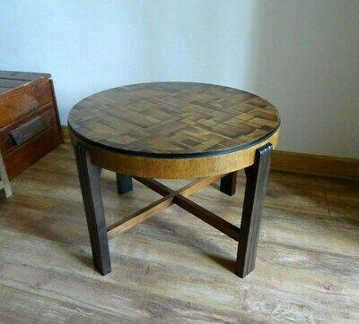 Vintage Wooden Coffee Table, Round Oak Mid-Century Art Deco Retro Quirky 50s 60s
