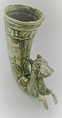 Circa 500 Bce Ancient Persian Silver Fluted Rhyton With Rams Head