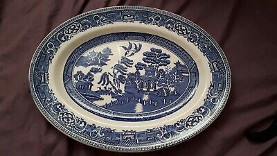 ALFRED MEAKIN OLD WILLOW OVAL PLATE/MEAT SERVING PLATTER BLUE & WHITE 36cm 14""
