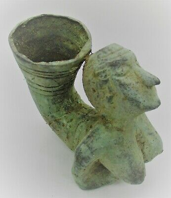 Ancient Persian Bronze Fluted Rhyton Vessel In The Form Of A Female