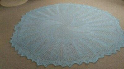 """Baby Blue NEW Hand Knitted White Circular Baby Shawl  approx. 60"""" diameter."""