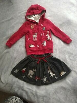 Next girls Woodland Set cardi and skirt And Tights Age 4-5