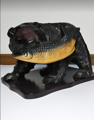 "BIG! Japanese Hand Carving Wooden Bear 12"" width on wooden base VERY GOOD!!"